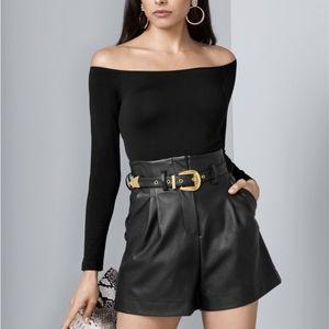 // Venus Vegan Leather High Waist Shorts